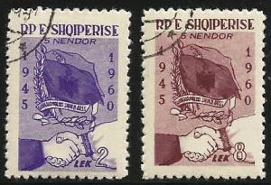 Albania 1961 Scott# 581 to 582 used complete