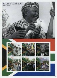 Tuvalu Famous People Stamps 2013 MNH Nelson Mandela Politicians 6v M/S II
