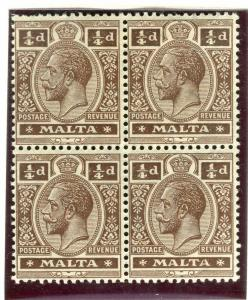 MALTA; 1914 early GV issue fine Mint hinged Shade of 1/4d. Block