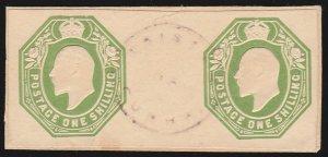 TRISTAN DA CUNHA : 1908 Precursor use of GB KEVII 1/- postal stationery cut-out.