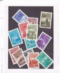 Hungary # C262-274, Airplanes over Historical Buildings, Used, 1/3 Cat.