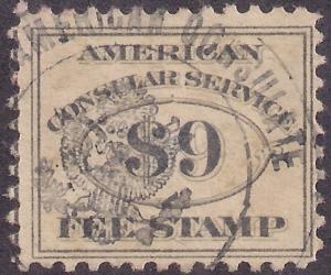 $9 CONSULAR SERVICE FEE ISSUE #RK20 used Bold strike American Consulate cnl F-VF