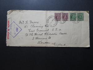 Australia 1944 Censor Cover to UK w/ Charity Stamp / Fold/Edge Creasing - Z10685