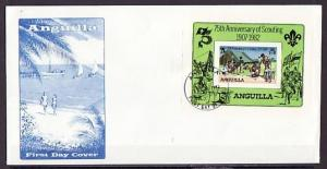 Anguilla, Scott cat. 506. 75th Scout Anniversary s/sheet on a First day cover.