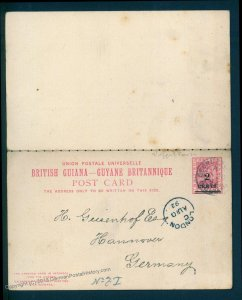 British Guiana 1892 Revalued Reply Card Pair Hannover Germany 93645