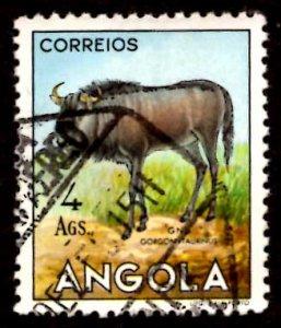 Angola 1953 African Brindled gnu Wild Animals 4a Scott.375 Used (#8)