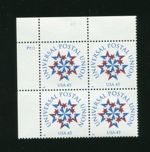 3332 Universal Postal Union Plate Block of 4 45¢ Stamps