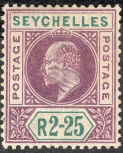 SEYCHELLES-1903 2r25 Purple & Green Sg 56 light gum toning MOUNTED MINT V50070