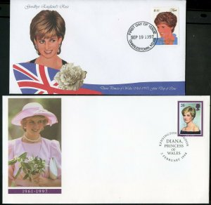 PRINCESS DIANA LOT OF TEN DIFFERENT FOREIGN FIRST DAY COVERS