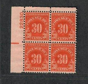 US Sc#J85 M/NH/F-VF+, Plate Block, Cv. $60