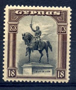 Cyprus 1928 sg 130 18pi brown and black, fine mint