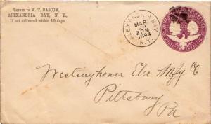 United States New York Alexandria Bay 1894 cork killer  2c Columbian Envelope.