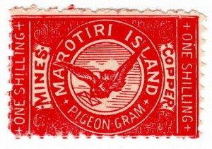 (I.B) New Zealand Cinderella : Marotiri Island (Copper Mines) Pigeon Post 1/-