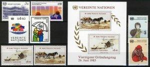 UN Vienna 1985, Complete run one year VF MNH, Mi 47-54, Bl 2