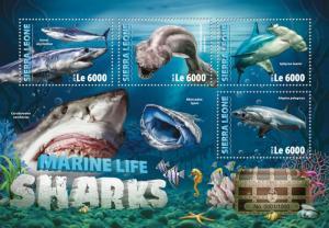 Sierra Leone MNH S/S Shark Attack Marine Life 2016