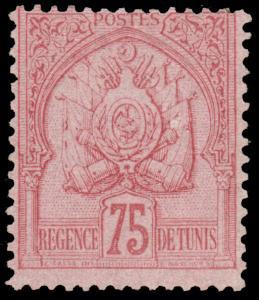 TUNISIA 1888 75c CARMINE ON ROSE LIGHTLY HINGED #22 and CV$170.00 Maury #15 @...