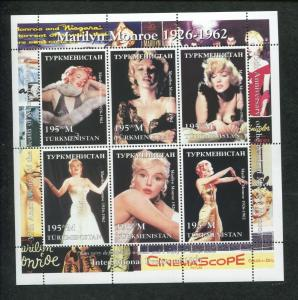 Turkmenistan Commemorative Souvenir Stamp Sheet Marilyn Monroe 35th Anniversary