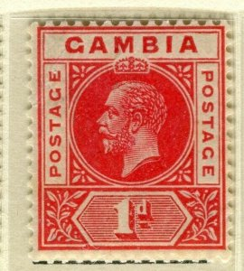 GAMBIA; 1921 early GV issue fine Mint hinged 1d. value