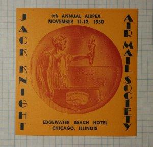 Jack Knight AIRPEX 1950 Edgewater Beach Hotel Chicago ILL Philatelic Souvenir Ad