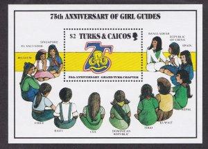 Turks & Caicos Islands # 709, Girl Guides Anniv., Souvenir Sheet,  NH, 1/2 Cat.