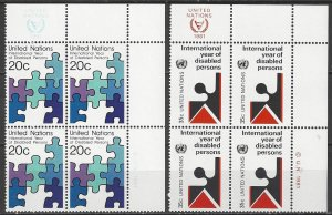 United Nations New York 344-5  MI Blocks of 4  MNH  Year of Disabled