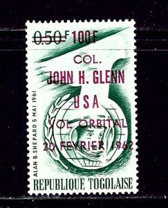 Togo 421a MNH 1962 John Glenn overprint