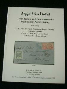 ARGYLL ETKIN AUCTION CATALOGUE 2004 ANGLO BOER + CAPE NYASALAND ETC