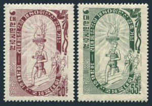 Korea South 223-224,MNH.Mi 197-198. National Athletic Week,1955.Olympic rings.