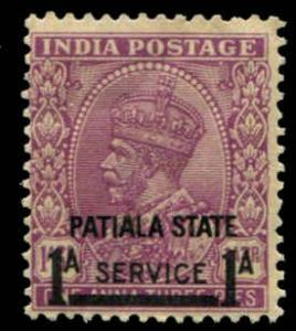India -Patiala SC# O59 SG# O70 George VI 1A o/p on 1A3ps MH  SERVICE = 8/1/2mm