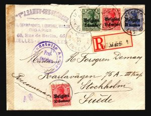 Belgium 1916 Occupation Cover Registered to Sweden - Z17087