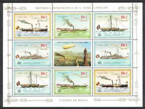 Sao Tome Ships Steamers Zeppelin Sheetlet of 8v SC#754