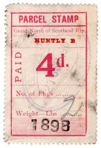 (I.B) Great North of Scotland Railway : Parcel Stamp 4d (Huntly)