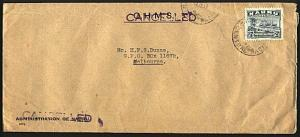 NAURU 1947 2½ freighter on 'CANCELLED' OHMS cover to Melbourne.............93155
