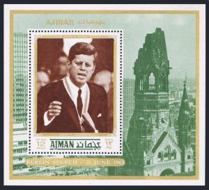 Ajman 1253 Bl.338A Michel,MNH. John Kennedy,1972.Berlin Speech,06.25.1963.