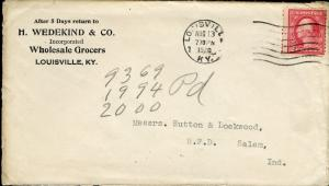 US LOUISVILLE, KY 8/13/1920 2C RATE COVER TO SALEM, IN KENTUCKY FAIR AS SHOWN