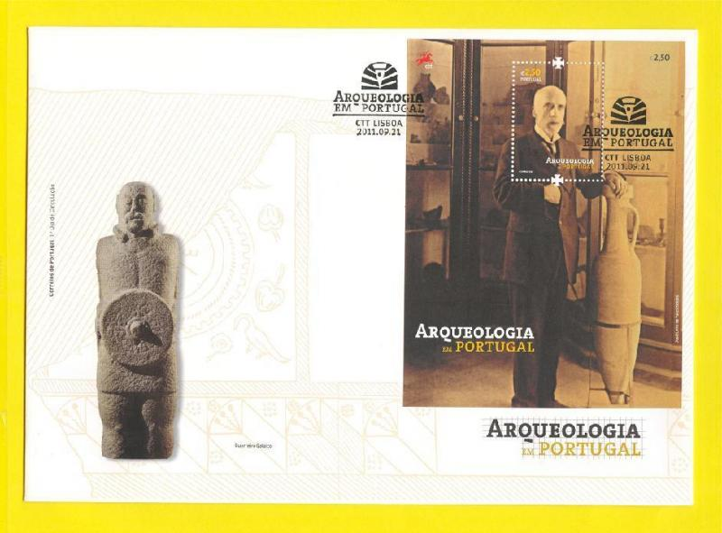 FDC s / sheet PORTUGAL 2011 ARCHAEOLOGY warrior statue ceramic pottery HISTORY