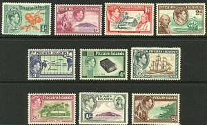 Pitcairn Islands 1940 KGVI pictorial set ½d to 2/6d sg1/8 cv£85 (10v) Min Stamps