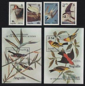 Anguilla Birds Stork Tern Osprey Tanager Vireo Audubon 4v+2 MSs SG#650-MS654