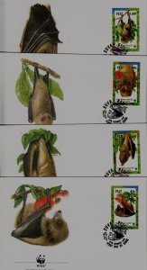 Fiji 797-800 FDC WWF-97/Monkeys