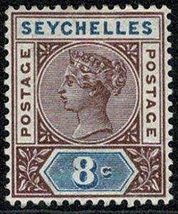 SEYCHELLES QV1890-92 8c BROWN & BLUE (DIE II) UNUSED SG11 Wmk.CROWN CA P.14 VGC