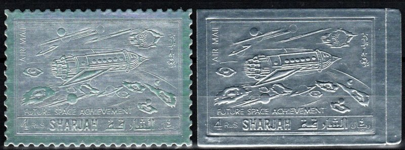 Sharjah 1972 Space Achievement Silver Perf And Imperf  (X8324)