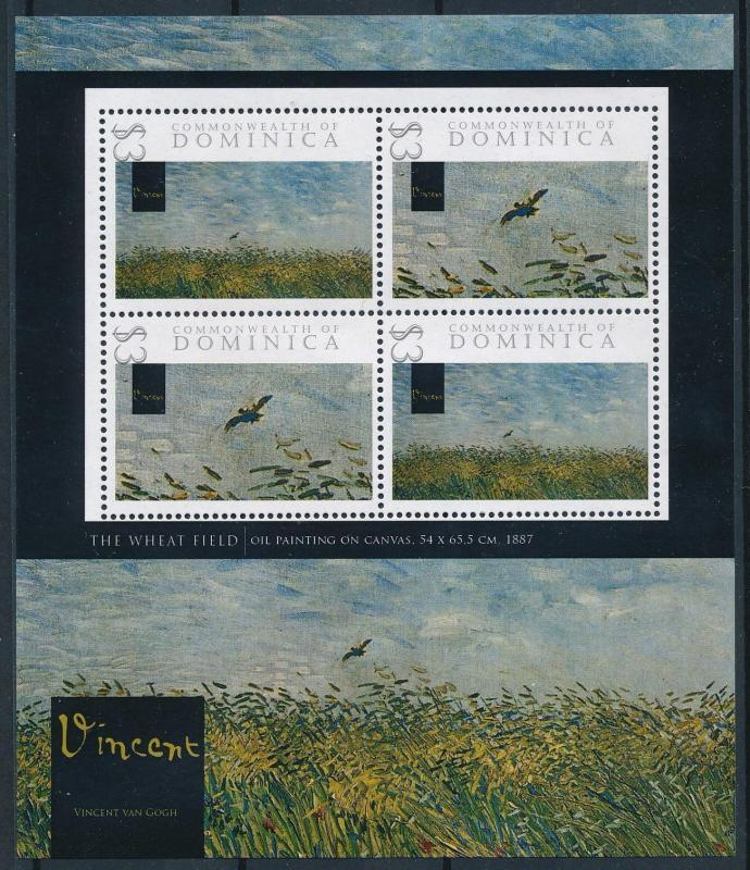 [76615] Dominica 2009 Painting Vincent van Gogh The Wheat Field Sheet MNH