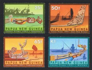 Papua New Guinea MNH 912-5 Canoe Prows 1997