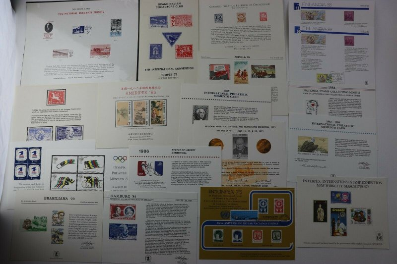 WW US Philatelic Exhibition stamp club Souvenir card sheet pages lot reprint