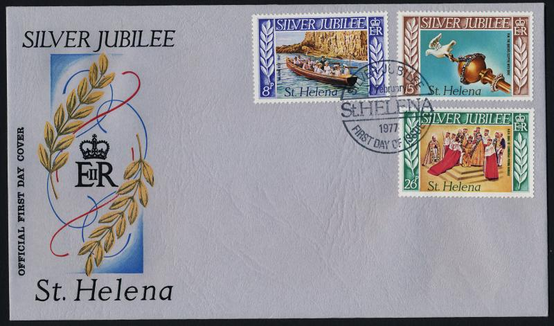 St Helena 311-3 on FDC - Queen Elizabeth Silver Jubilee, Ships