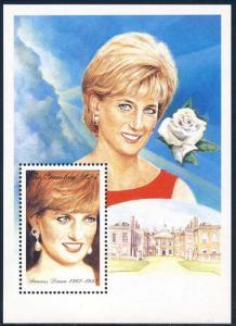 Gambia 1997 Sc 2015 Diana Princess of Wales Rose SS Stamp**
