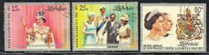 LIBERIA SC# 788-790 **NH** CTO 1977  QEII SILVER JUBILEE SEE SCAN