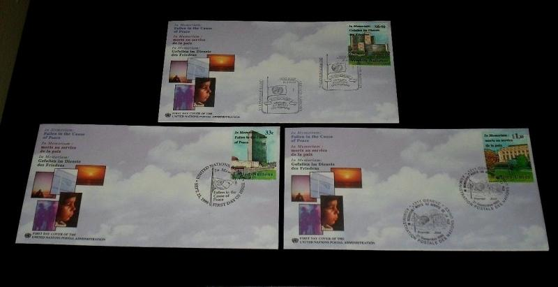 U.N. 1999, IN MEMORIAM, SINGLES ON FDCs, ALL 3 OFFICES,NICE! LQQK!