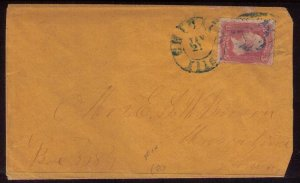 US Sc 64a 3c Pigeon Blood Pink Postal History Cover Cat.$5000.00