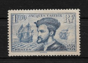 France 1934, Jacques Cartier, Scott # 297, VF MLH*OG (FR-1) CV $110